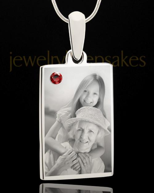 Photo Engraved January Birthstone Rectangle Pendant