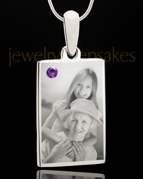 Photo Engraved February Birthstone Rectangle Pendant