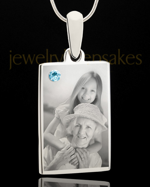 Photo Engraved March Birthstone Rectangle Pendant