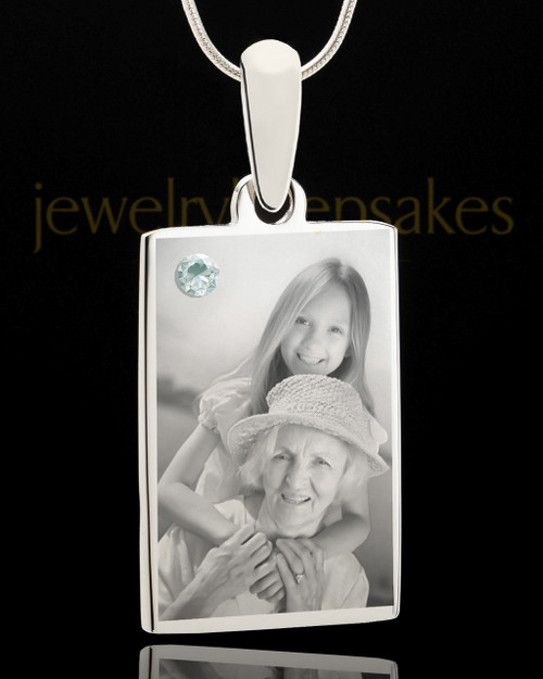 Photo Engraved April Birthstone Rectangle Pendant