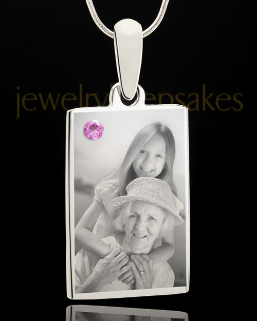 Photo Engraved June Birthstone Rectangle Pendant