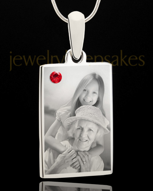 Photo Engraved July Birthstone Rectangle Pendant