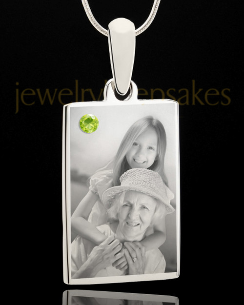 Photo Engraved August Birthstone Rectangle Pendant
