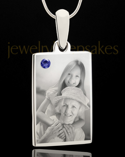 Photo Engraved September Birthstone Rectangle Pendant