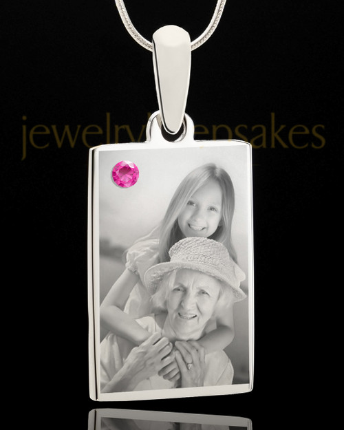 Photo Engraved October Birthstone Rectangle Pendant