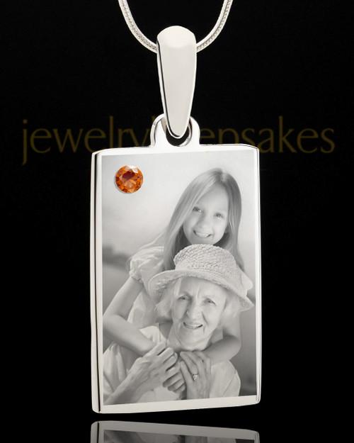 Photo Engraved November Birthstone Rectangle Pendant