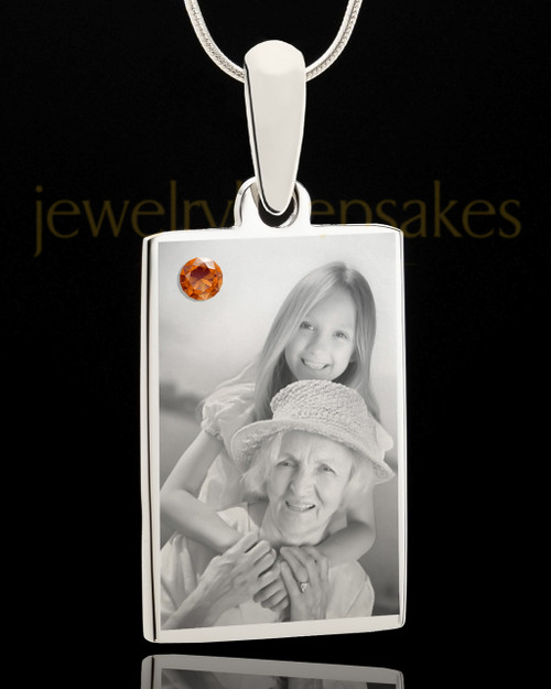 Photo Engraved November Birthstone Rectangle Pendant