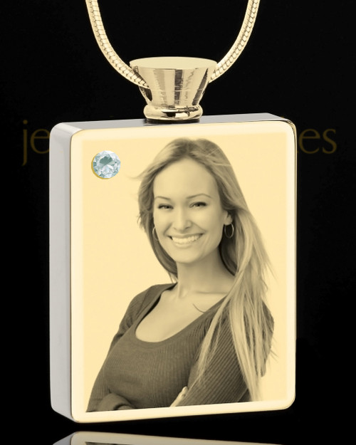 Photo Engraved April Gold Plated Rectangle Cremation Pendant
