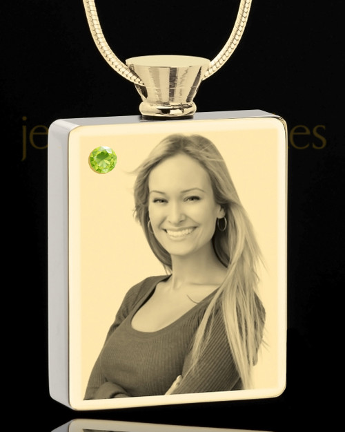 Photo Engraved August Gold Plated Rectangle Cremation Pendant