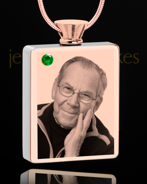 May Rose Gold Plated Photo Engraved Rectangle Cremation Pendant