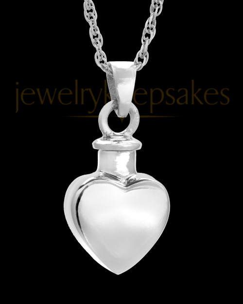 Urn Locket Small Heart 14k White Gold
