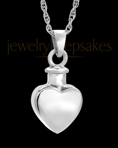 Urn Locket Small Heart 14k White Gold