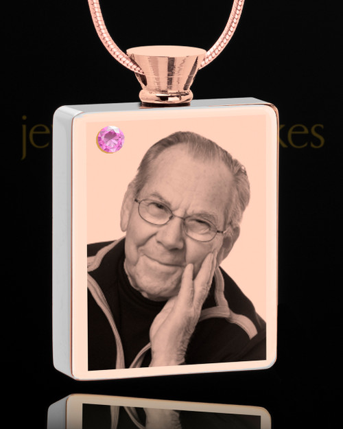 June Rose Gold Plated Photo Engraved Rectangle Cremation Pendant
