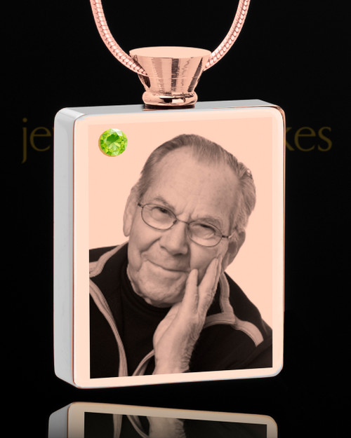 August Rose Gold Plated Photo Engraved Rectangle Cremation Pendant