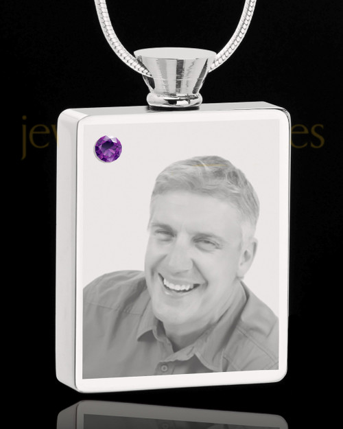 February Stainless Steel Photo Engraved Rectangle Cremation Pendant