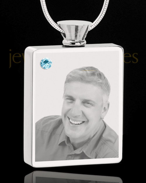 March Stainless Steel Photo Engraved Rectangle Cremation Pendant