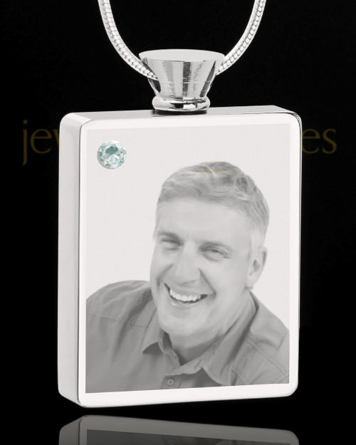 April Stainless Steel Photo Engraved Rectangle Cremation Pendant