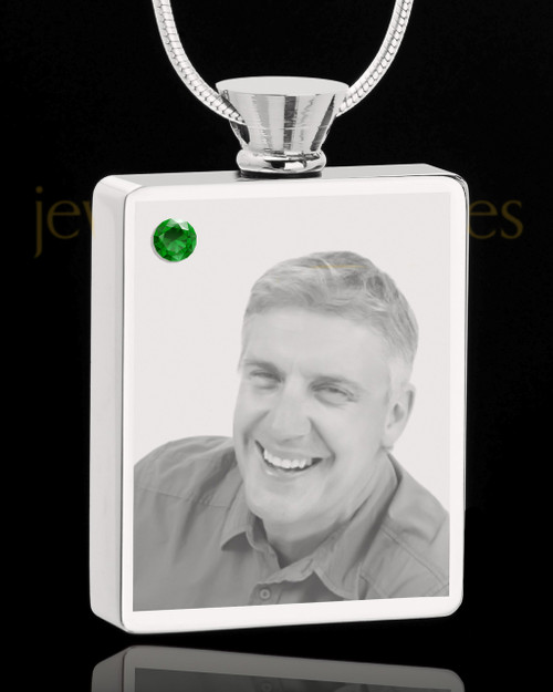 May Stainless Steel Photo Engraved Rectangle Cremation Pendant