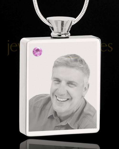 June Stainless Steel Photo Engraved Rectangle Cremation Pendant