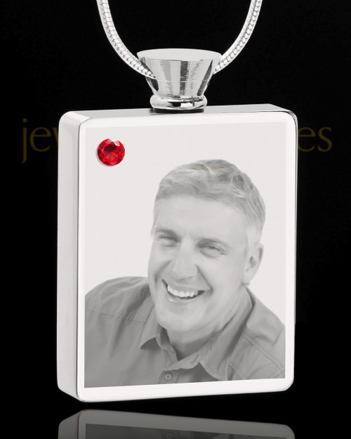 July Stainless Steel Photo Engraved Rectangle Cremation Pendant