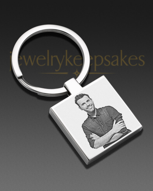 Photo Engraved Square Stainless Keychain