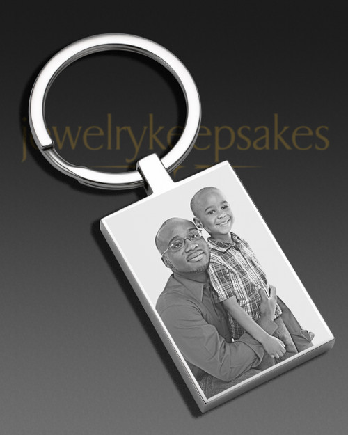 Photo Engraved Rectangle Stainless Keychain