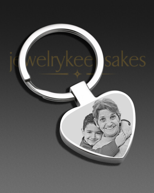Photo Engraved Heart Stainless Keychain