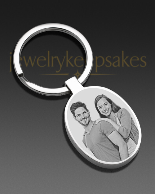 Photo Engraved Oval Stainless Keychain