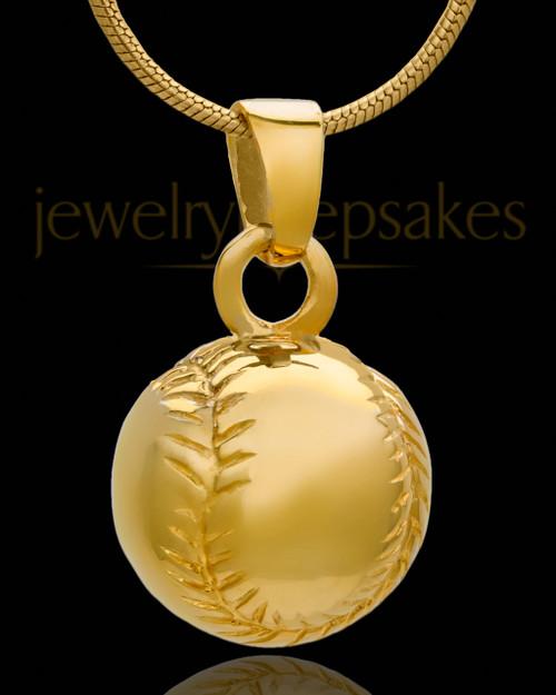 Baseball Urn Pendant in 14 Karat Yellow Gold