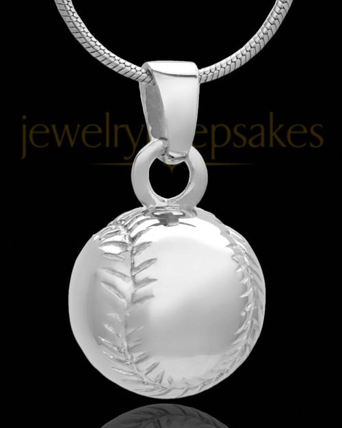 Baseball Cremation Jewelry in 14 Karat White Gold