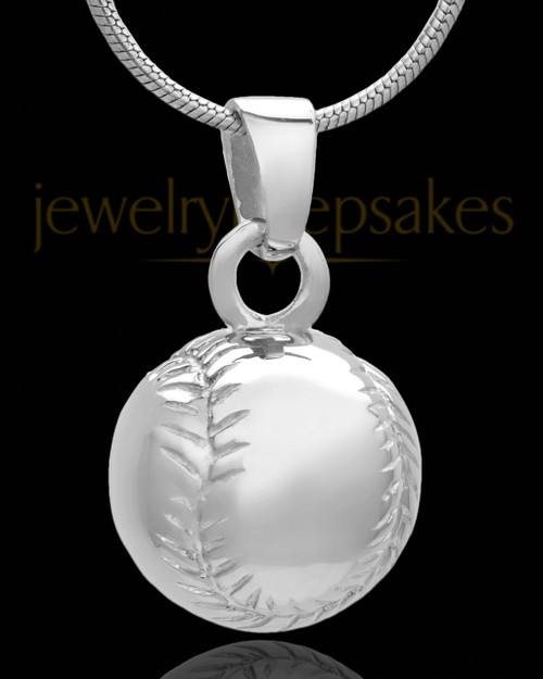 Baseball Cremation Jewelry in 14 Karat White Gold