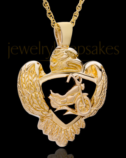 14K Gold Cycle Heart Cremation Jewelry