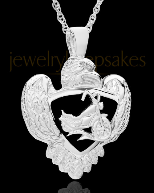 Cycle Heart Cremation Pendant in 14K White Gold