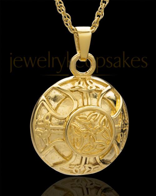 Irish Round 14 Karat Yellow Gold Cremation Jewelry