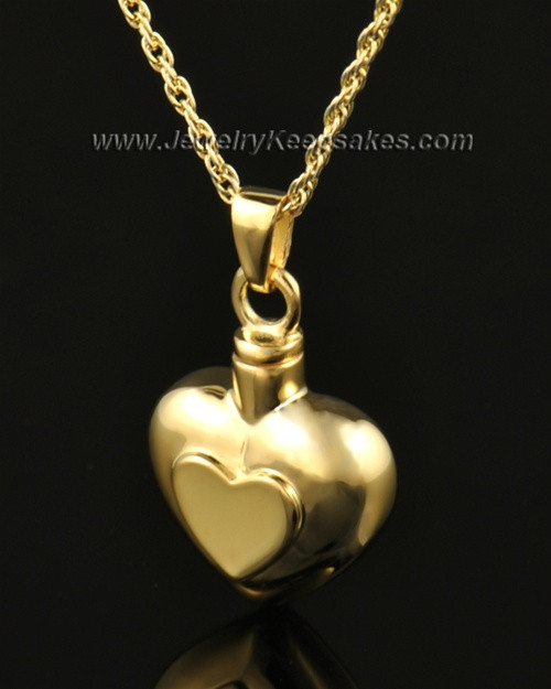 Ash Pendant Double Heart 14k Gold