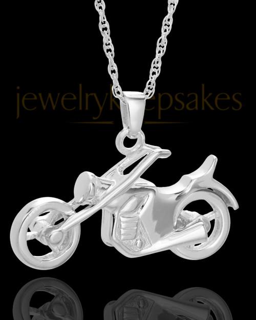 Cruisin Motorcycle Urn Pendant in 14K White Gold