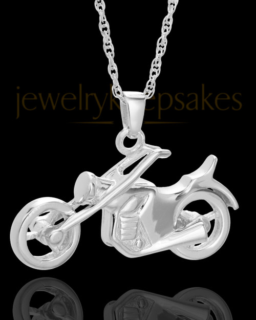 Cruisin Motorcycle Urn Pendant in 14K White Gold