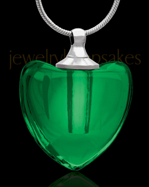 Green Glass Pristine Heart Cremation Jewelry