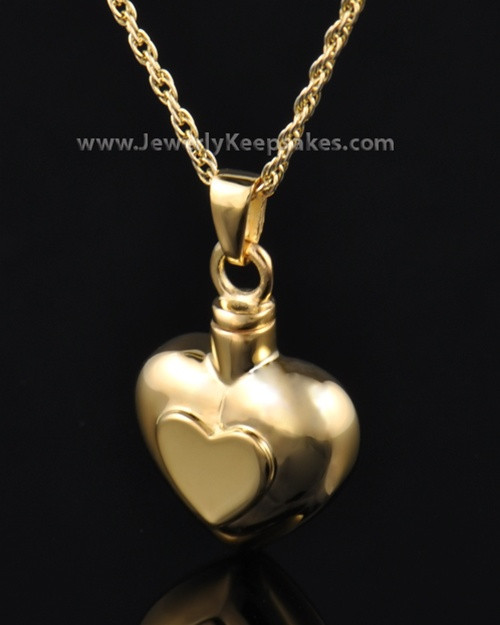 Ash Pendant Double Heart - Gold Plated
