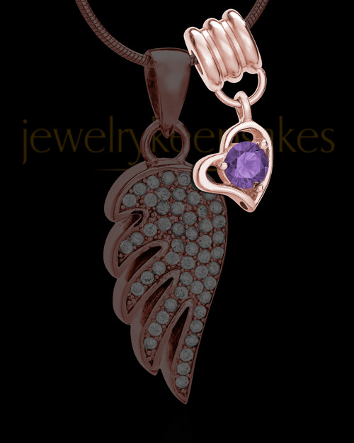 Add a Rose Gold February Birthstone Heart