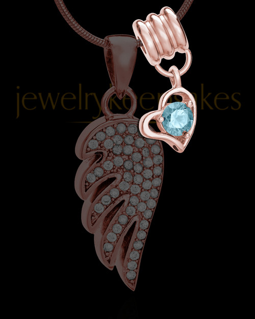 Add a Rose Gold March Birthstone Heart