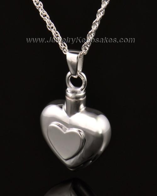Ash Pendant Double Heart 14k White Gold