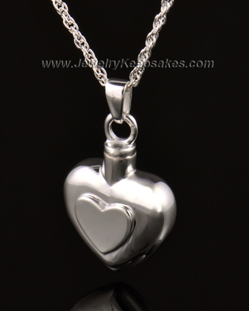 Ash Pendant Double Heart 14k White Gold