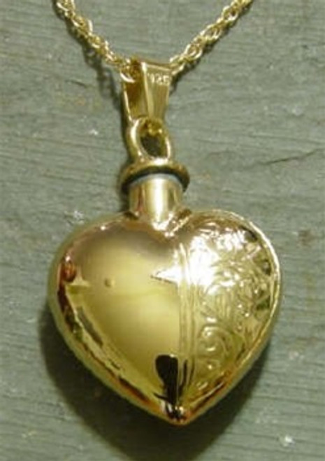 Keepsake Jewelry Half Etched Heart - Gold Plated