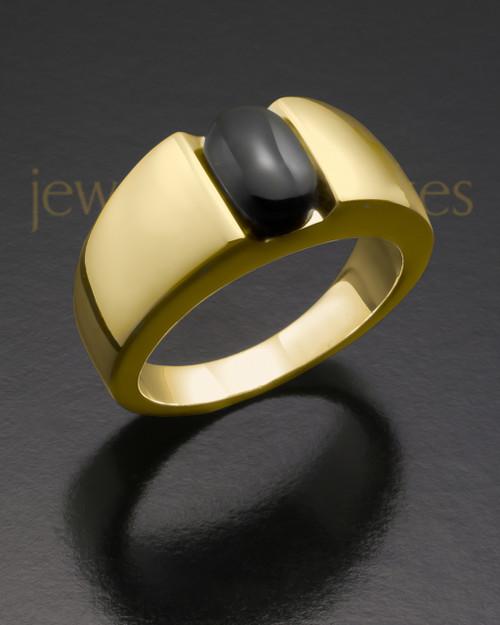 Ladies 14k Gold Beguiling Black Onyx Ash Ring