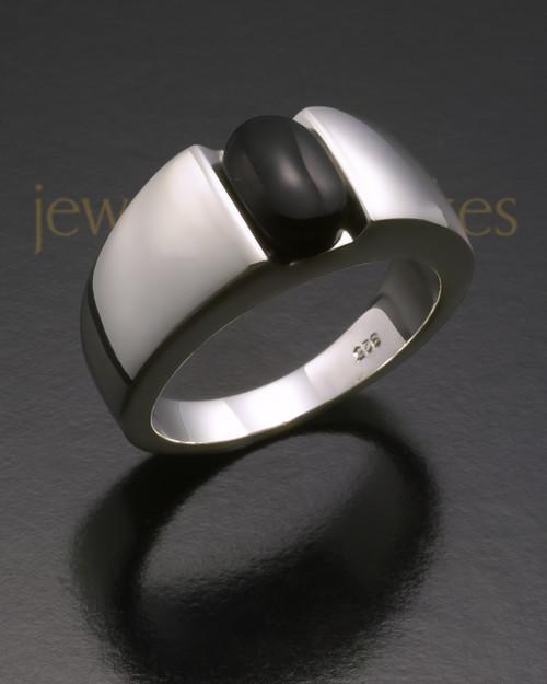 Ladies White Gold Beguiling Black Onyx Ash Ring