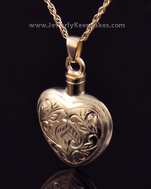 Memorial Locket Etched Heart - Gold Plated