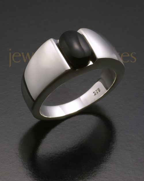 Men's White Gold Beguiling Black Onyx Cremation Ring