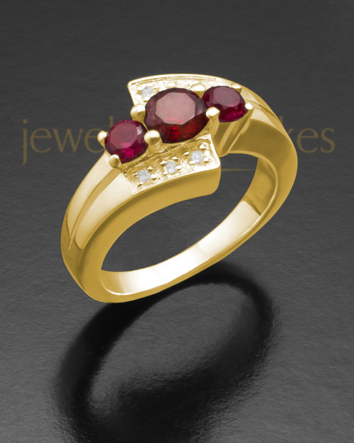 Ladies 14K Gold Radiant Red Cremation Ring