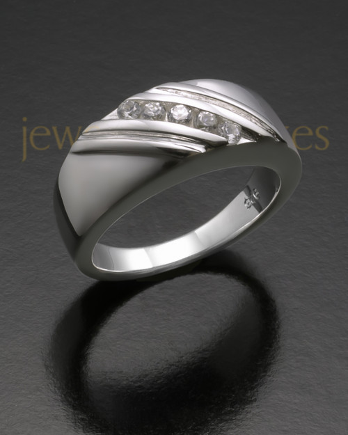 Ladies White Gold Tender Cremation Ring